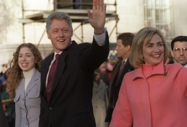 Clinton With Hillary And Chelsea Clinton