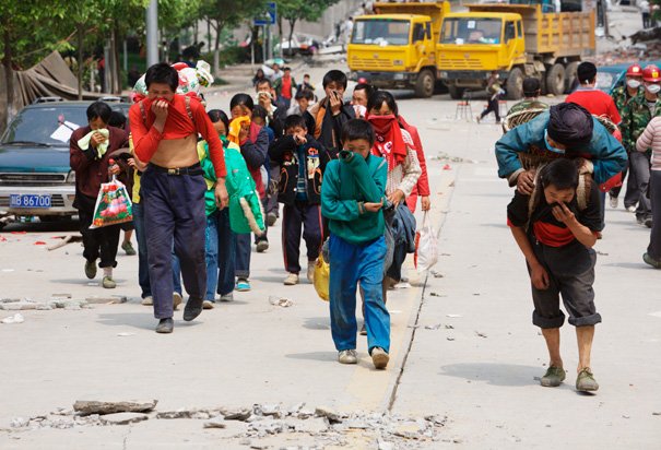 Survivors of the 2008 Sichuan Earthquake Evacuate Beichuan, China