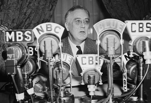 Roosevelt making a radio announcement