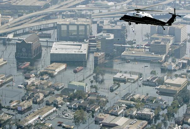 Bush Flying Over New Orleans