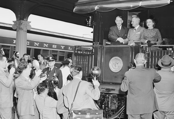 Truman Campaigning on the Presidential Train