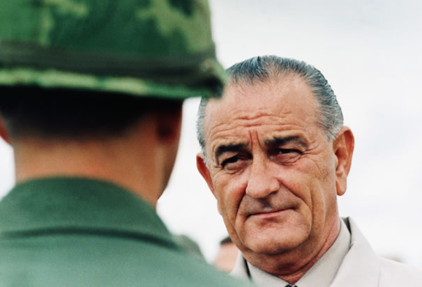 President Johnson Visits Vietnam Soldiers